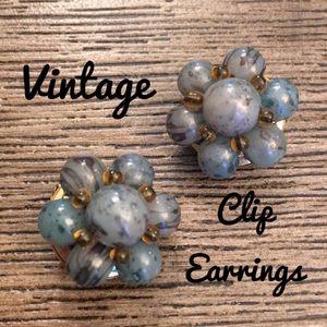 Vintage Beaded Clip Earrings Flower Shape